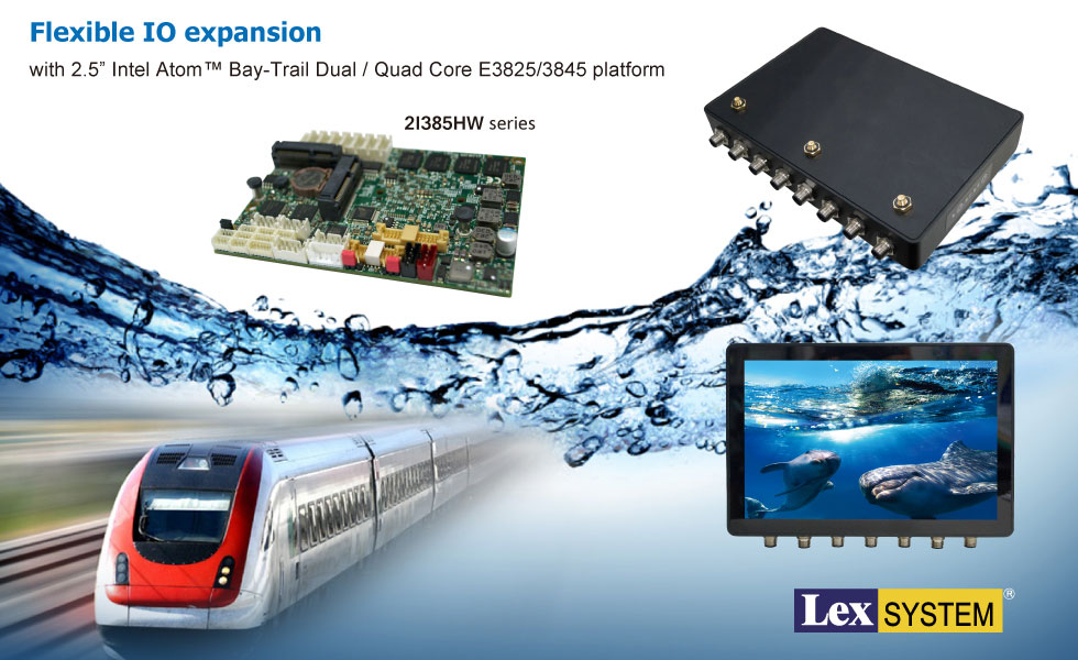 "2I385HW - Flexible IO expansion with 2.5"" Intel Atom™ Bay-Trail Single / Quad Core E3815/3845 platform"