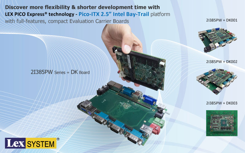 "2I385PW - Discover more flexibility & shorter development time with LEX PICO Express technology - Pico-ITX 2.5"" Intel Bay-Trail platform with full-features, compact Evaluation Carrier Boards"